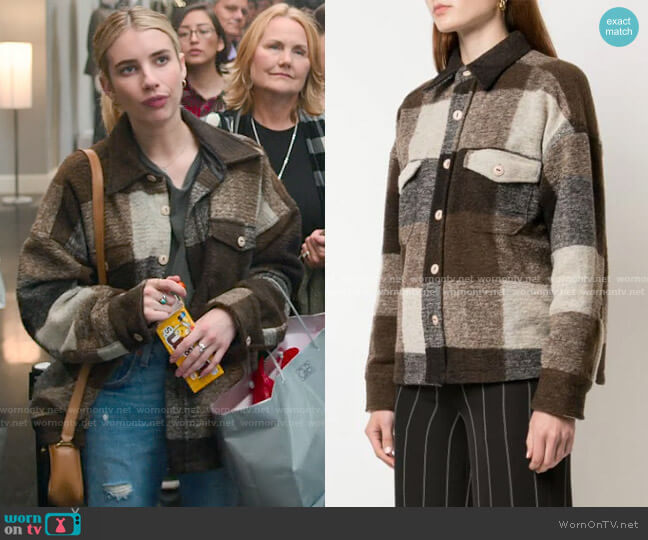Anine Bing Bobbi Flannel Jacket worn by Sloan (Emma Roberts) on Holidate (2020)