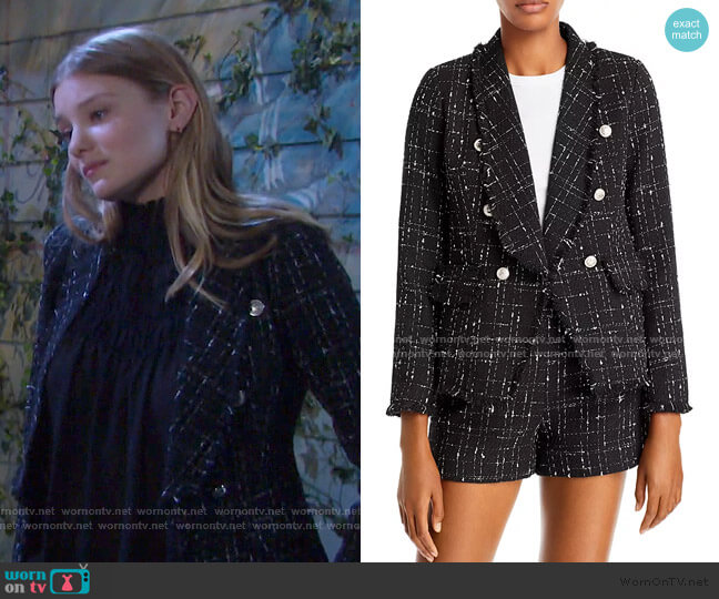 Tweed Blazer by Aqua  worn by Alice Caroline Horton (Lindsay Arnold) on Days of our Lives