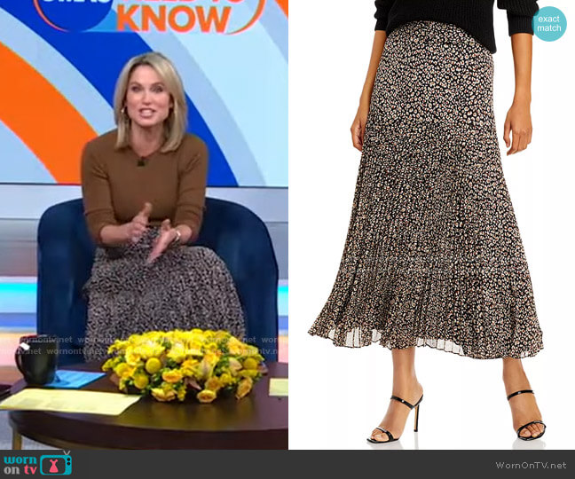 Printed Belted Pleated Skirt by Bardot worn by Amy Robach  on Good Morning America