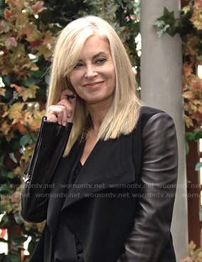 Ashley's black draped leather sleeve jacket on The Young and the Restless