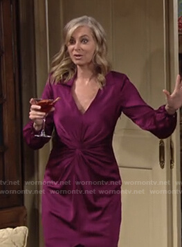 Ashley's purple twist front dress on The Young and the Restless
