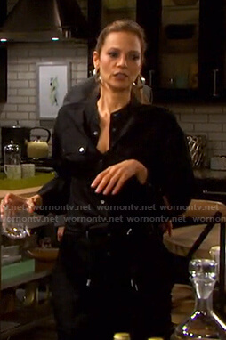 Ava's black drawstring waist jumpsuit on Days of our Lives