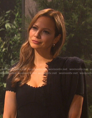 Ava's black scalloped dress on Days of our Lives