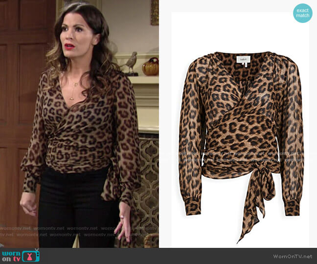 ba&sh Folk Leopard Top worn by Chelsea Lawson (Melissa Claire Egan) on The Young & the Restless