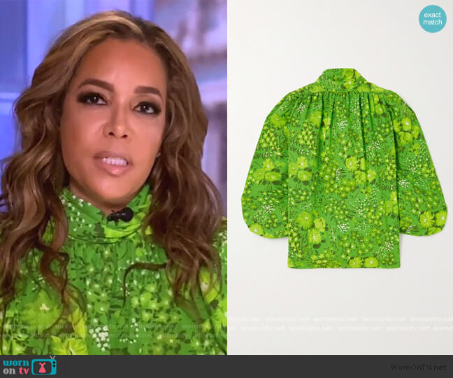 Floral-print crepe blouse by Balenciaga worn by Sunny Hostin  on The View