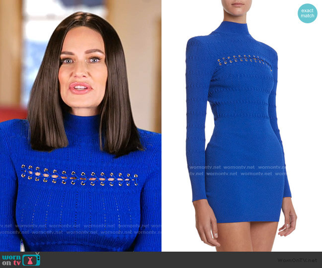 Lace-Up Jersey Dress by Balmain worn by Meredith Marks  on The Real Housewives of Salt Lake City