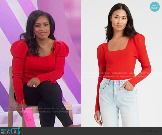 Square-Neck Puff-Sleeve Sweater Top by Banana Republic worn by Sheinelle Jones  on Today