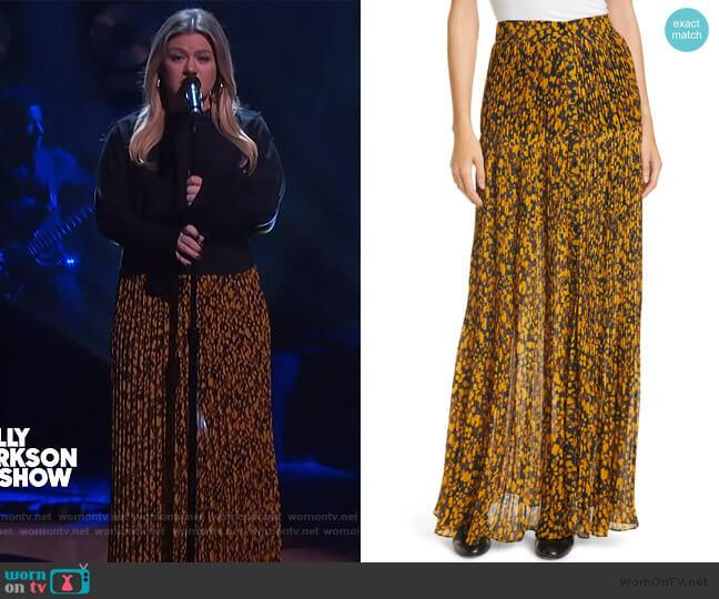 Lamba Pleated Maxi Skirt by Ba&sh worn by Kelly Clarkson  on The Kelly Clarkson Show