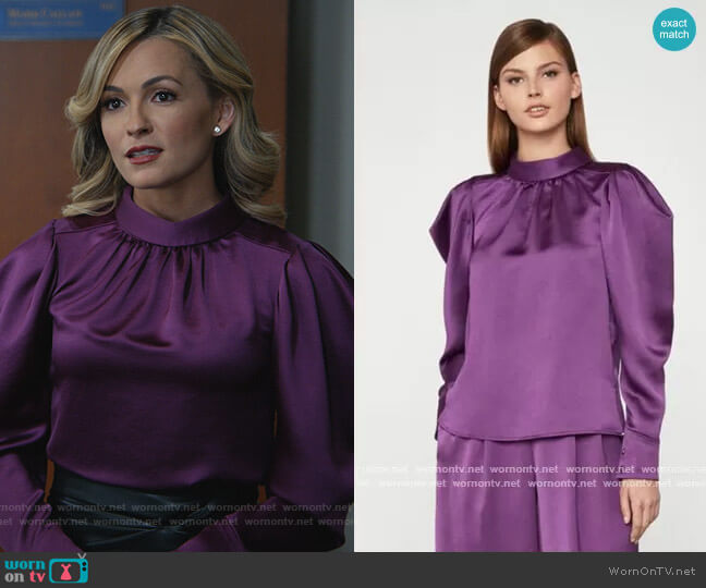 Satin Puffy Blouse by Bcbgmaxazria worn by Amy Quinn (Lindsey Gort) on All Rise