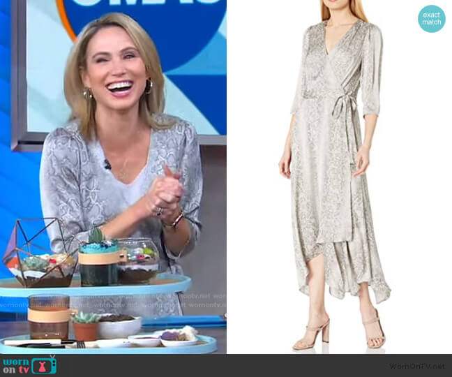 Long Sleeve Printed Wrap Dress by Bcbgmaxazria worn by Amy Robach  on Good Morning America