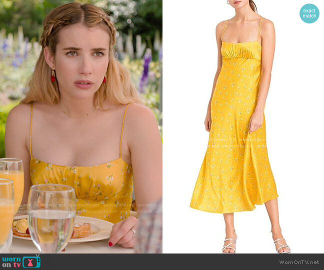 Bec & Bridge Only In Paris Floral Silk Dress worn by Sloan (Emma Roberts) on Holidate (2020)