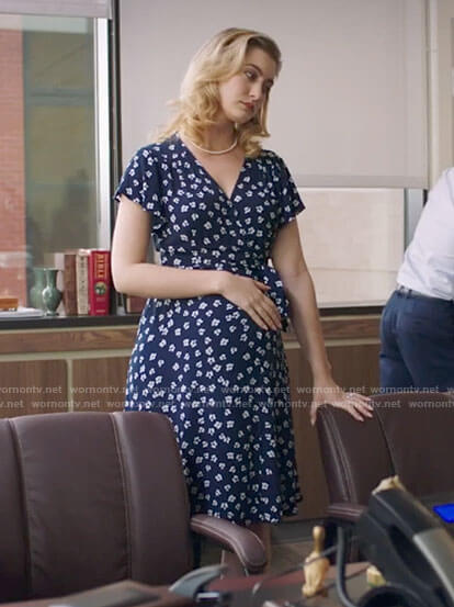 Becky's blue floral maternity dress on Filthy Rich