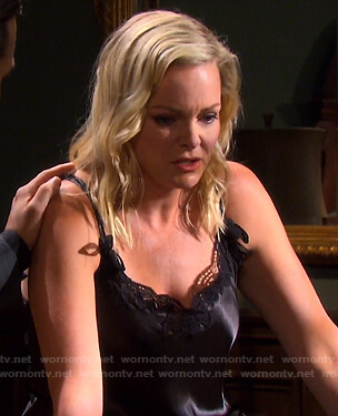 Belle's black lace trim chemise on Days of our Lives