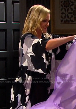Belle's floral print robe on Days of our Lives