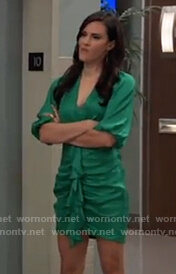 Brook-Lyn's green satin ruffle front dress on General Hospital