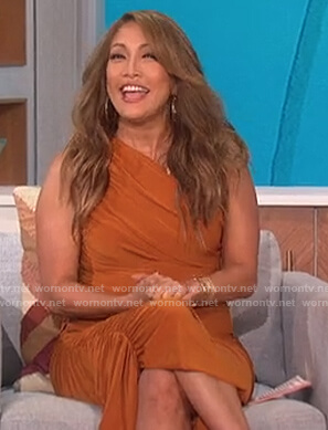 Carrie's brown ruched one shoulder dress on The Talk