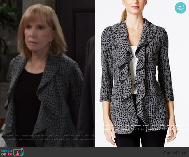 Open-Front Ruffle Soft Jacket by Calvin Klein worn by  Leslie Charleson on General Hospital
