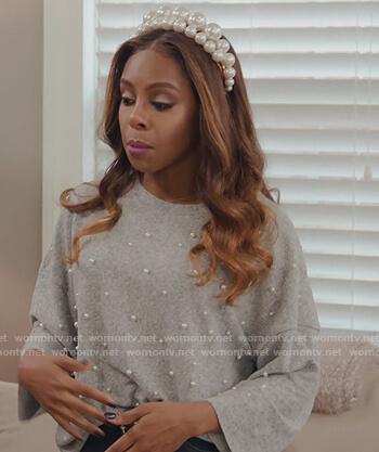 Candiance's gray studded sweater on The Real Housewives of Potomac