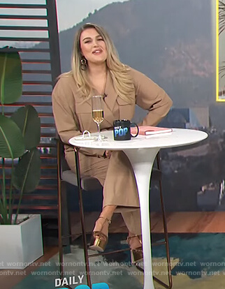 Carissa's beige cargo jumpsuit on E! News Daily Pop