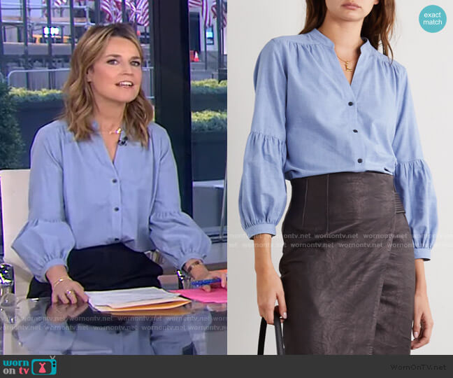 Ella Gathered Cotton-Chambray Shirt by Cefinn worn by Savannah Guthrie  on Today