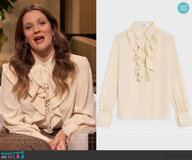 Blouse with Double Jabot in Silk Crepe by Celine worn by Drew Barrymore  on The Drew Barrymore Show