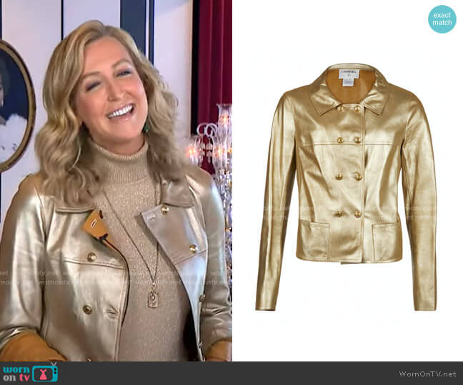 Gold Leather Jacket by Chanel worn by Lara Spencer  on Good Morning America