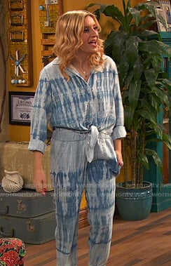 Chelsea's blue tie dye shirt tie front and pants on Ravens Home