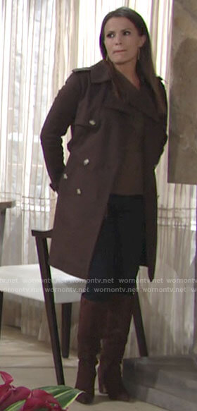 Chelsea's brown trench coat on The Young and the Restless