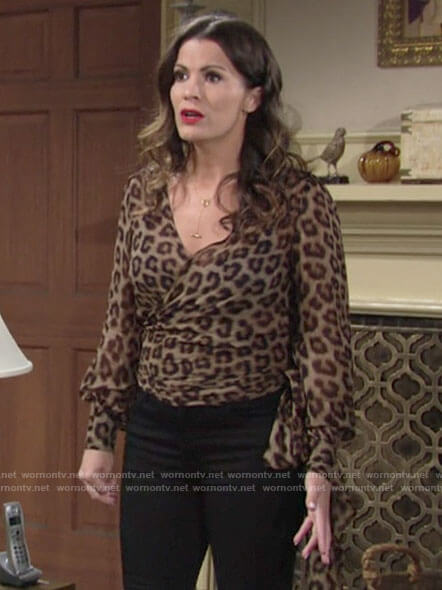 Chelsea's leopard print wrap top on The Young and the Restless