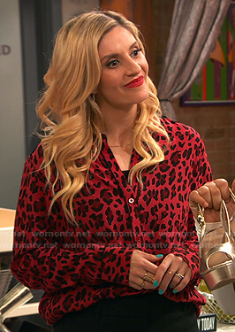 Chelsea's red leopard print shirt on Ravens Home