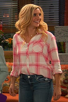 Chelsea's white and pink plaid shirt on Ravens Home