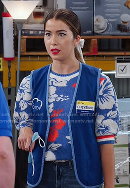 Cheyenne's blue floral print sweater on Superstore