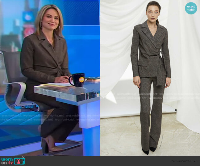 Karin Jacket and Printed Pants by Chiara Boni La Petite Robe worn by Amy Robach  on Good Morning America