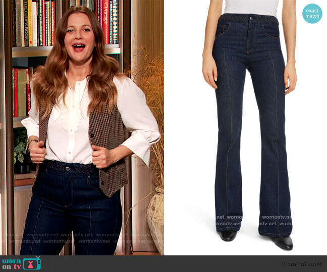 Braided Waist Flare Jeans by Chloe worn by Drew Barrymore  on The Drew Barrymore Show