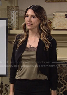 Chloe's green lace trim top on The Young and the Restless