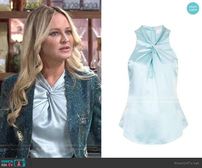 Cinq a Sept Lauren Twist Top worn by Sharon Collins (Sharon Case) on The Young & the Restless