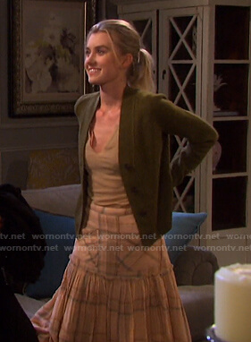 Claire's green cardigan and pink plaid skirt on Days of our Lives