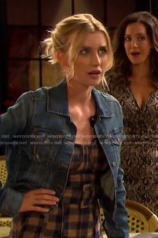 Claire's orange check belted jumpsuit on Days of our Lives