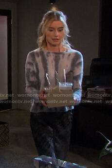 Claire's tie dye sweater and satin skirt on Days of our Lives