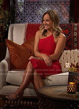 Clare's pink one-shoulder bandage dress on The Bachelorette