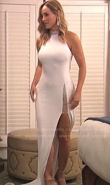Clare's white embellished halter gown on The Bachelorette