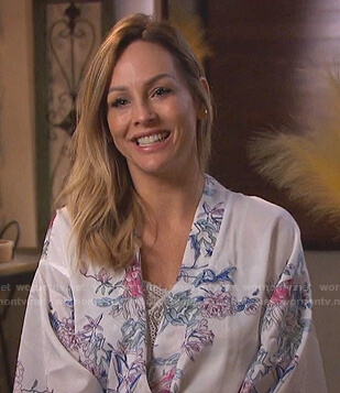 Clare's white floral robe on The Bachelorette