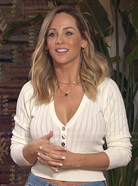 Clare's white pointelle v-neck top on The Bachelorette