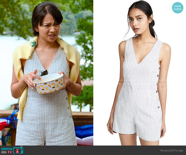 Club Monaco Cahdell Romper worn by Liz (Cynthy Wu) on Holidate (2020)