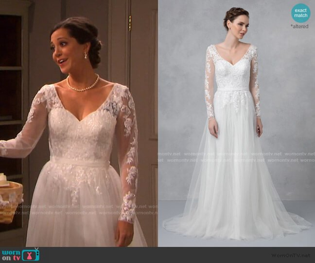 Long Sleeve Wedding Dress With Low Back by David's Bridal worn by Jan Spears (Heather Lindell) on Days of our Lives