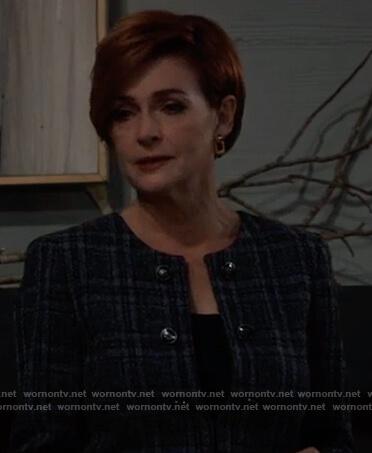 Diane's blue plaid tweed blazer on General Hospital