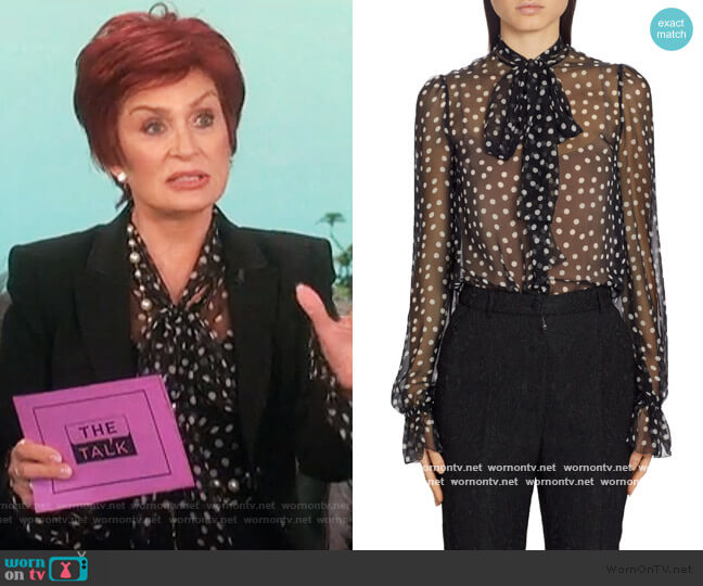 polka dot pussy bow blouse by Dolce & Gabbana worn by Sharon Osbourne  on The Talk