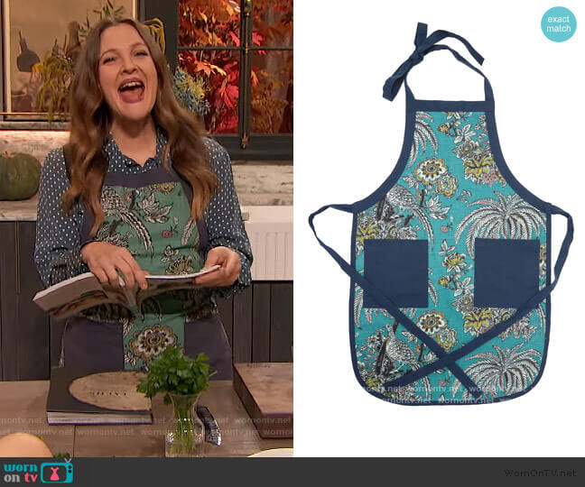 Tropical Toile Apron by Drew Barrymore Flower Home worn by Drew Barrymore  on The Drew Barrymore Show