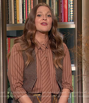 Drew's brown striped blouse on The Drew Barrymore Show