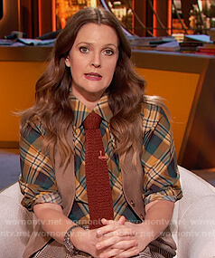 Drew's green plaid shirt and check pants on The Drew Barrymore Show